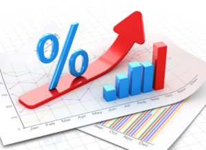 Percent symbol and business chart on financial paper, red arrow moving up. 3d render and computer generated image.